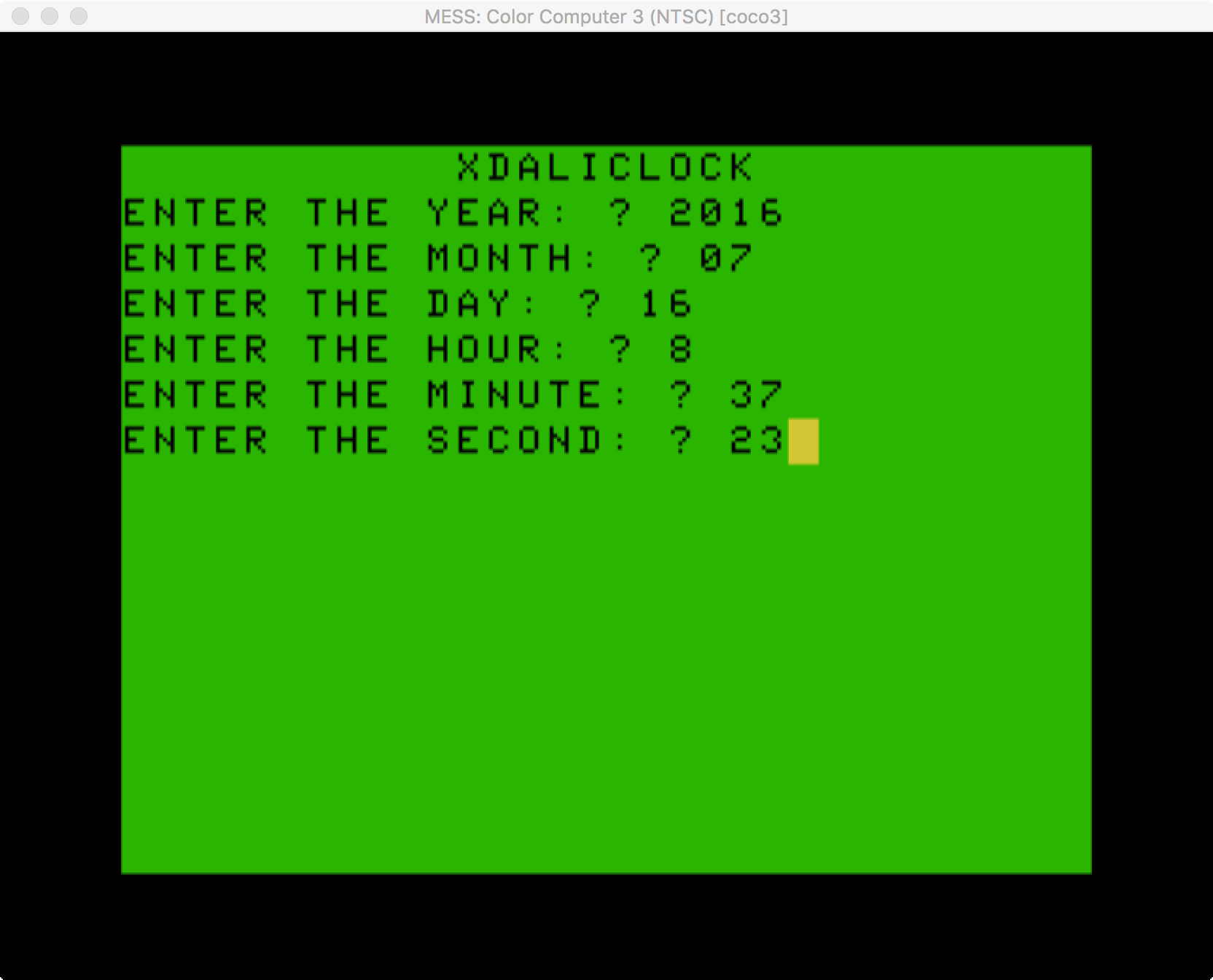 Enter Date and Time Screen